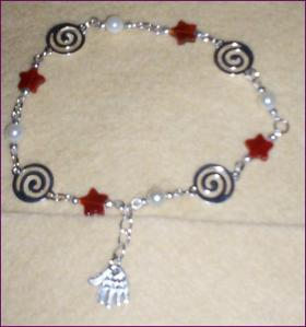 Carnelian and silver spiral bracelet